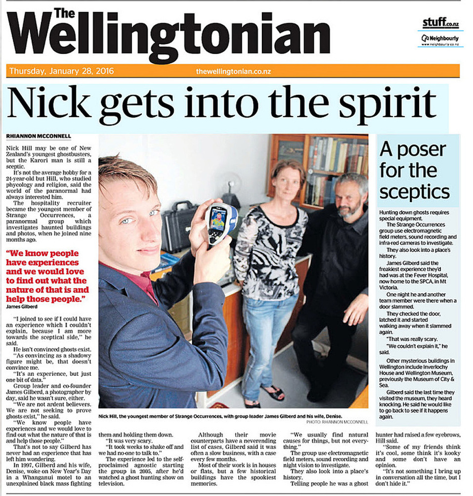 Front page of The Wellingtonian, 28th January 2016, New Zealand Strange Occurrences Society article, Nick Hill