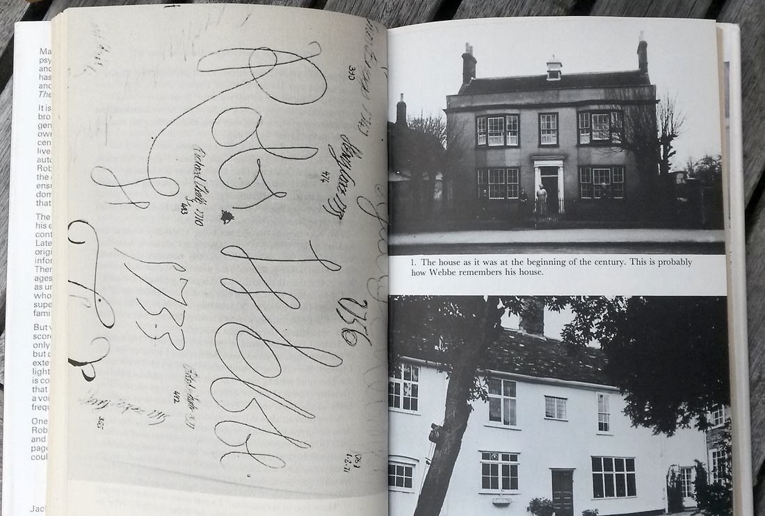 p40 spread of 'The Strangers' showing Robert Webbe's signature on the study wall, and photos of Queens House, Linton, Cambridgeshire. Photo: James Gilberd, New Zealand Strange Occurrences Society