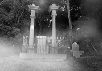 ghost photo, Bolton St Cemetery, Thorndon, Wellington, Ectoplasmic mist?, Something (probably one of us lot!) moved past the camera during the exposure. Photo: J.Gilberd
