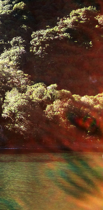 Evil Eye or just lens flare?, detail of demon face photo, Milford Sound new Zealand, Strange Occurrences paranormal investigators