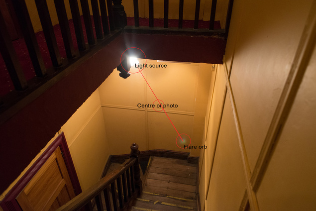 Flare orb in St James Theatre Wellington new Zealand, non-paranormal, photo by James Gilberd