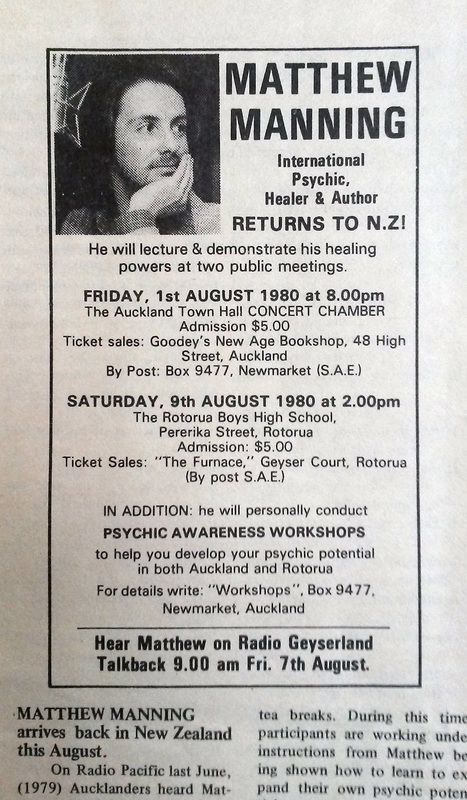 Advert for matthew Manning's New Zealand healing orkshop tour in August 1980, from the NZ Psychic Gazette, photo by James Gilberd