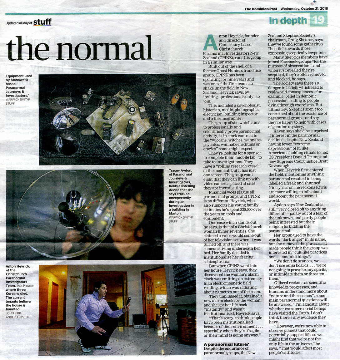 'Turning the paranormal into the normal' - Dominion Post article on the NZ paranormal scene, 31 October 2018, Andre Chumsky, New Zealand Strange Occurrences Society