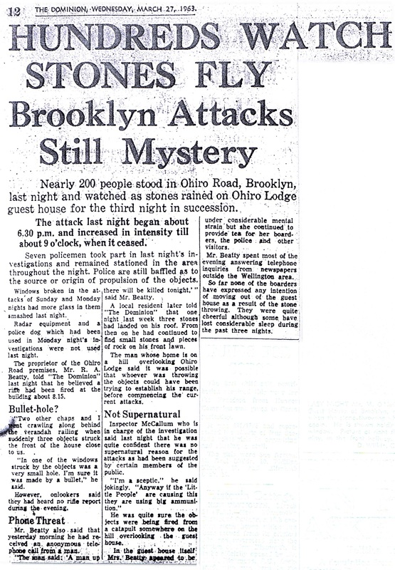 The Brooklyn Dodger stone throwing poltergeist case in Wellington New Zealand March 1963 Dominion newspaper clipping 1