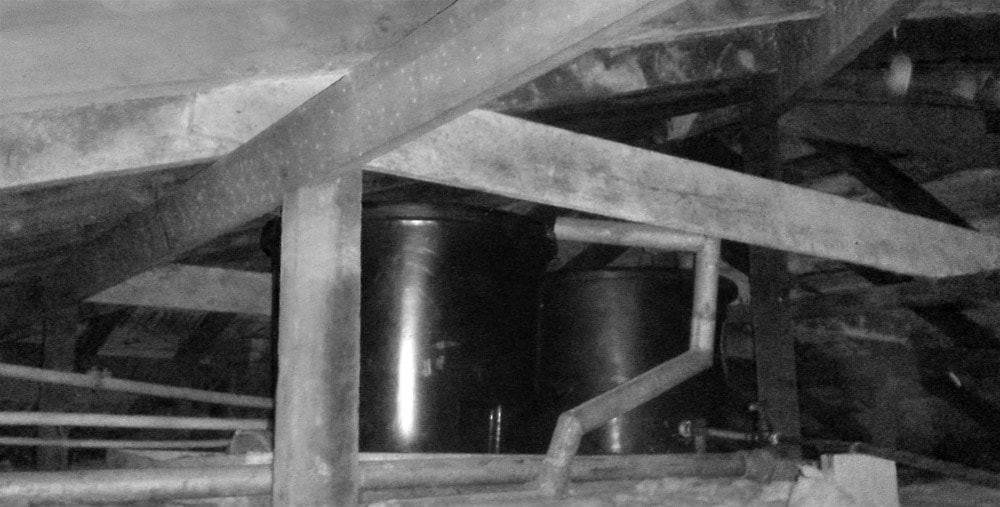 Pressure tanks. Photo: J.Gilberd, Plumbing and paranormal investigation, New Zealand Strange Occurrences Society.