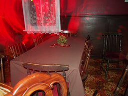 Analysis of paranormal anomalies in photographs is our specialty, paranormal photo false positive, camera movement and long shutter speed can create a paranormal effect like a ghost in the photo, photograph by James Gilbers, Mokena Hotel Te Aroha New Zealand